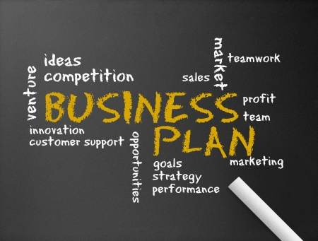 Photo for Dark chalkboard with the word Business Plan illustration.  - Royalty Free Image