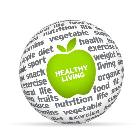 Healthy lifestyle 3d sphere on white background