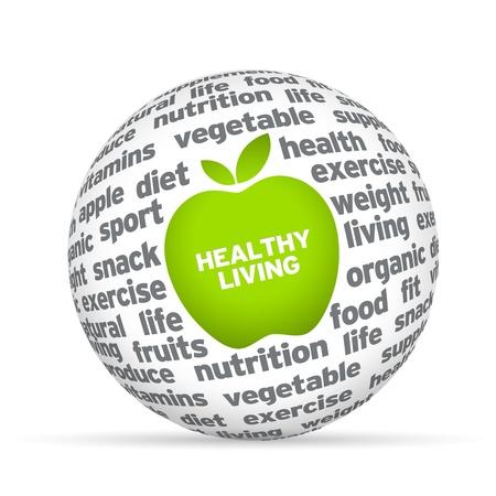 Foto de Healthy lifestyle 3d sphere on white background   - Imagen libre de derechos