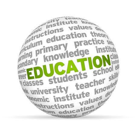 Photo pour 3D sphere with the word education on white background   - image libre de droit