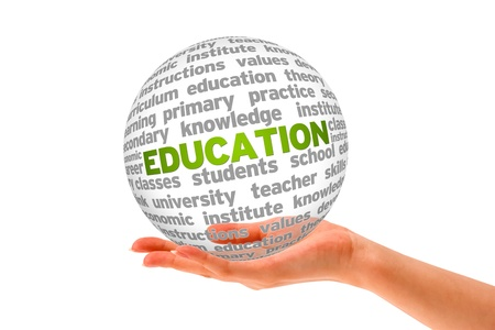 Hand holding a Education Sphere on white background.