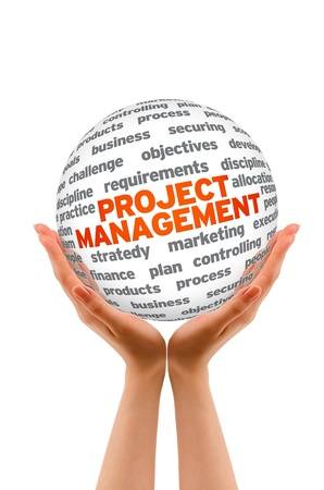 Foto de Hands holding a Project Management 3d Sphere.  - Imagen libre de derechos