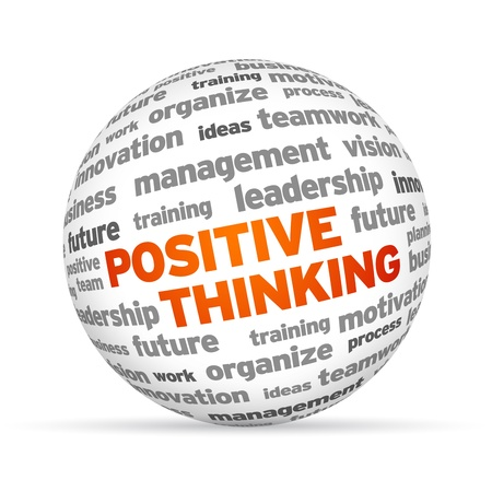 Positive Thinking word 3 Sphere on white background.