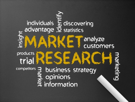 Dark chalkboard with the Market research Word illustration