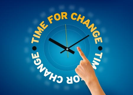 Hand pointing at a time for change clock illustration on blue background.