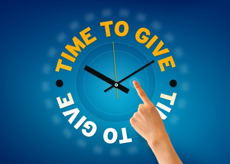Hand pointing at a Time to Give glock illistration on blue background.