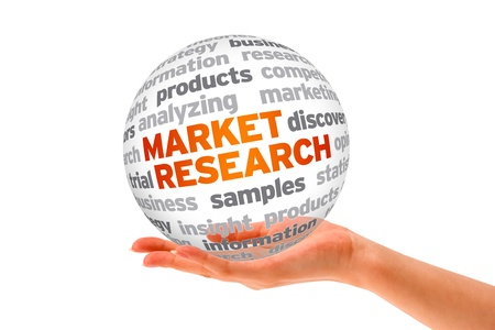 Hand holding a 3d Market Research Sphere on white background.