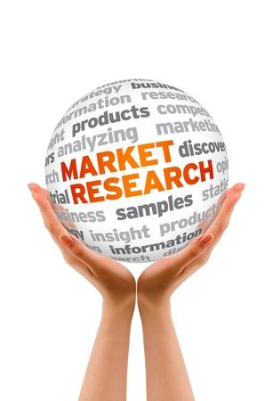 Foto de Hands holding a Market Research Word Sphere sign on white background. - Imagen libre de derechos