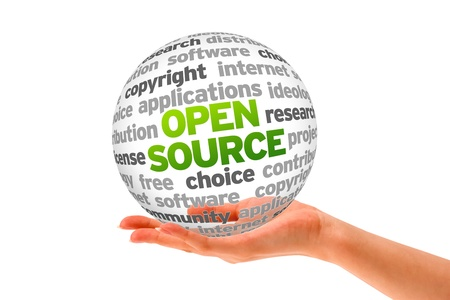 Hand holding a Open Source Word Sphere on white background.