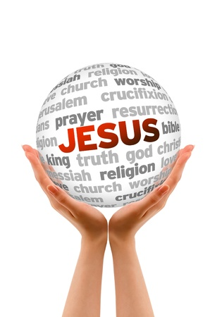 Hands holding a jesus Word Sphere on white background.