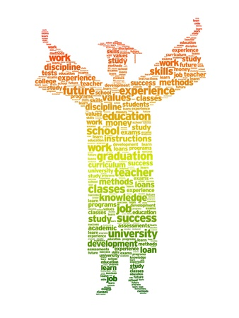 Illustration pour Word silhouette of a graduation student on white background.   - image libre de droit