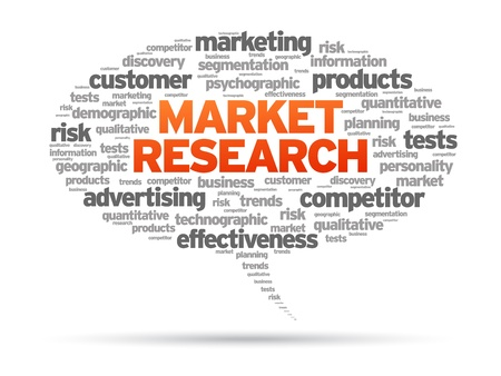 Market Research speech bubble illustration on white background.