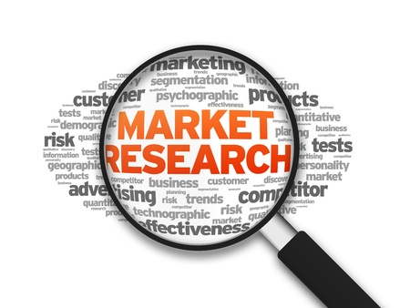 Magnified illustration with the word Market Research on white background.