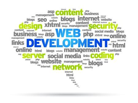 Illustration pour Web Development speech bubble illustration on white background.  - image libre de droit