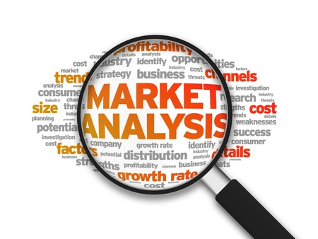 Photo pour Magnified illustration with the word Market Analysis on white background. - image libre de droit