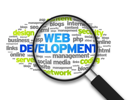 Magnified illustration with the word Web Development on white background.
