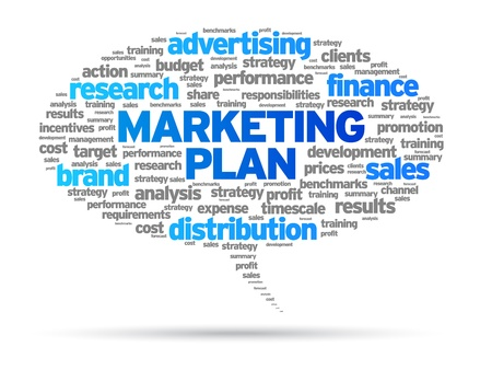 Marketing Plan speech bubble illustration on white background.