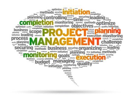 Illustration pour Project Management speech bubble illustration on white background.  - image libre de droit