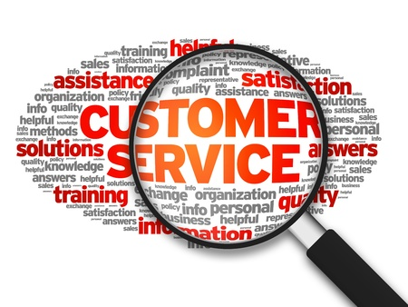 Magnified illustration with the words Customer Services on white background.