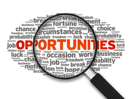 Magnified illustration with the word Opportunities on white background.