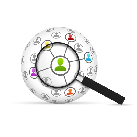 Photo for Network 3d Sphere with magnifying glass on white background  - Royalty Free Image