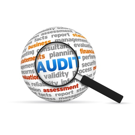 Audit 3d Word Sphere with magnifying glass on white background