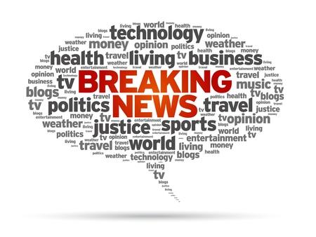 Breaking News speech bubble illustration on white background.