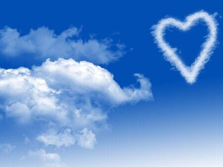 Photo pour clouds  heart shape in blue sky - image libre de droit