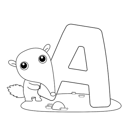 Illustration pour Coloring Alphabet for Kids,A - image libre de droit