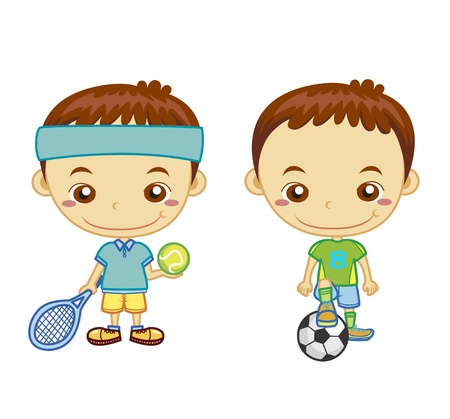 Foto de A football player and a tennis player isolated on white background  Kids and Sports series   - Imagen libre de derechos