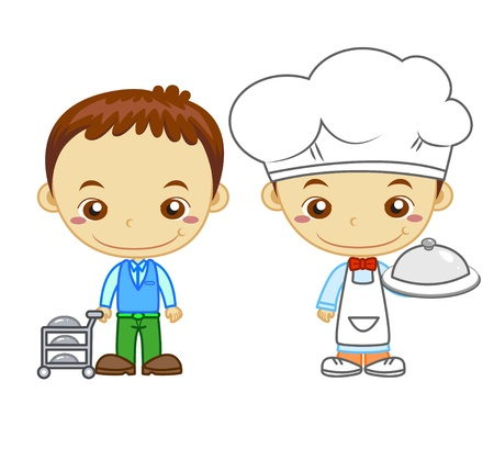 A cook and a restaurant waiter isolated on white background  Kids and Jobs series