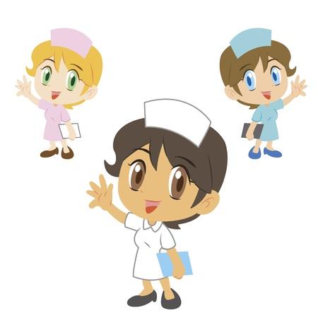 three cute cartoon nurses