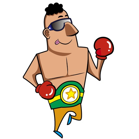 Cartoon boxer with boxing gloves vector illustration