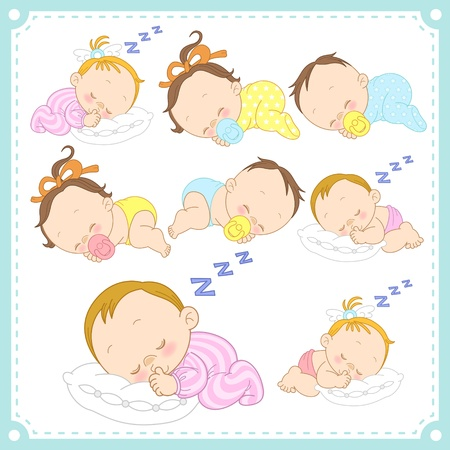 Illustration for  illustration of baby boys and baby girls with white background  - Royalty Free Image