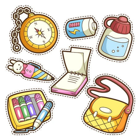 school set. set of different school items, vector illustration.