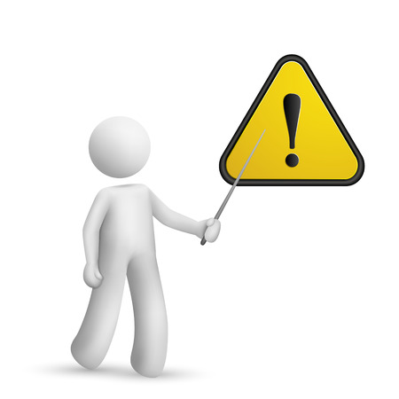 3d person pointing at a warning sign isolated white background