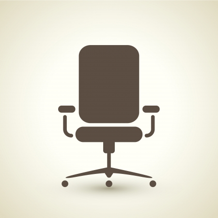 retro style office chair icon isolated on brown background
