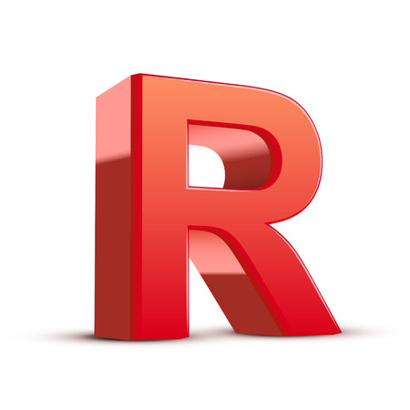 3d red letter R isolated white background