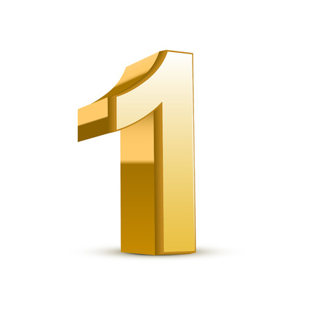 3d shiny golden number 1 on white background