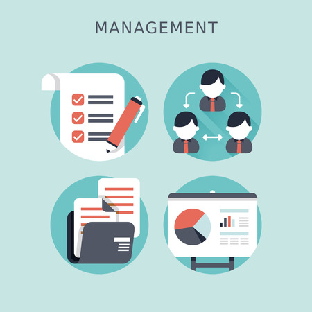 flat design concept of business management or finance workflow theme