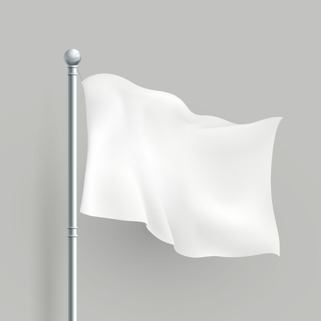 3d modern vector white flag blank template