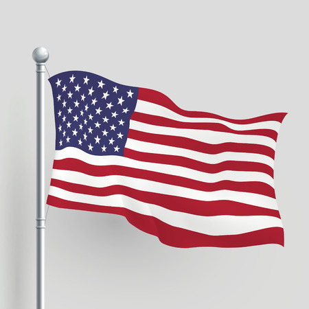 3d vector American flag blowing in a breeze