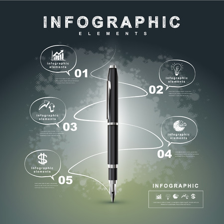 creative flow chart with fountain pen writing informations in a technology space, can be used for infographics and banners, concept vector illustration