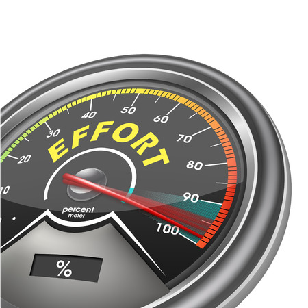 effort conceptual meter indicate hundred percent, isolated on white background