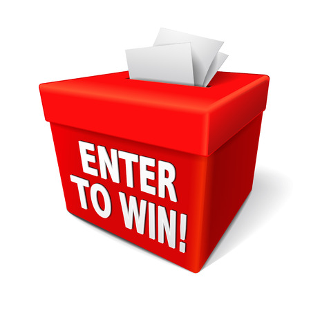 enter to win words on a red box with a slot for entering tickets or entry form to win in a lottery