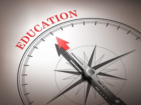 abstract compass needle pointing the word education in red and white tones