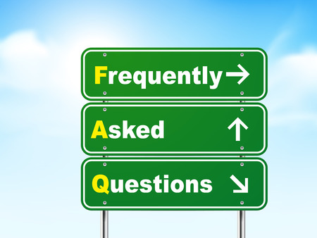 3d frequently asked questions road sign isolated on blue background