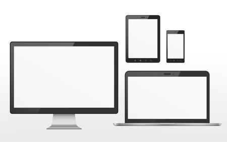 Illustration pour device set that includes TV, tablet, smart phone and laptop over white background - image libre de droit