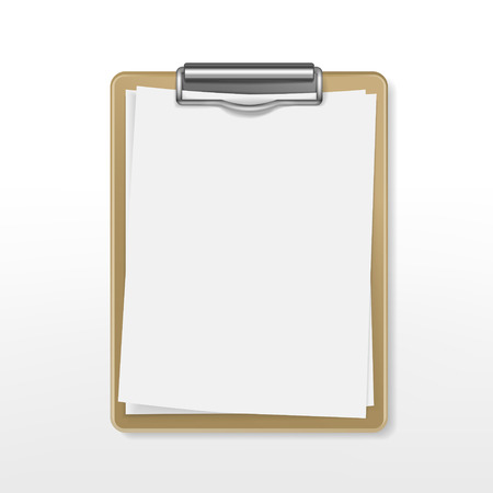 Illustration pour clipboard with blank paper over white background - image libre de droit