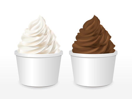 blank paper cup with milk and chocolate ice cream isolated over white background